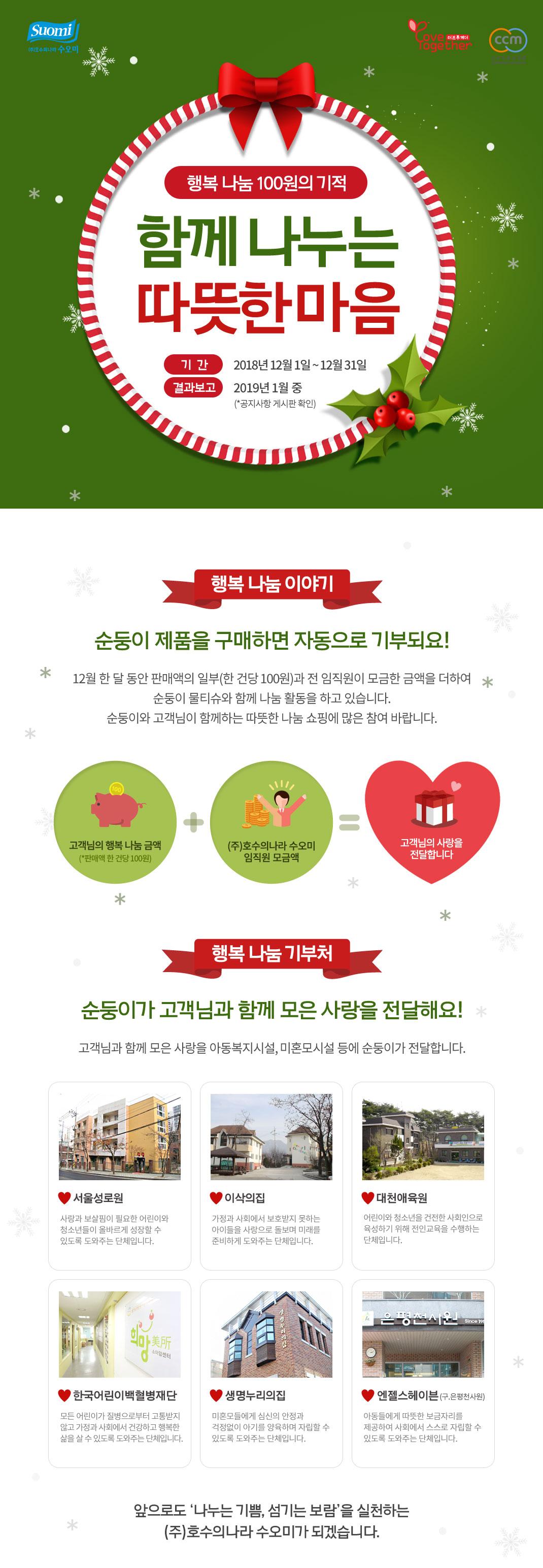 12월 한달 동안 순둥이 물티슈를 구매하면 자동 기부 되요. 많은 참여부탁드려요